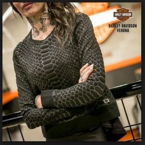 Harley Davidson Black Python Pattern Sweater